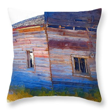 Throw Pillow featuring the photograph The Garage by Susan Kinney