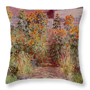 The Garden At Vetheuil Throw Pillow by Claude Monet