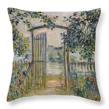 The Garden Gate At Vetheuil Throw Pillow