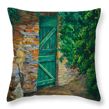 The Garden Gate In Cinque Terre Throw Pillow by Charlotte Blanchard
