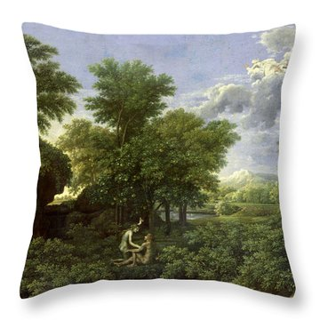 The Garden Of Eden Throw Pillow by Nicolas Poussin