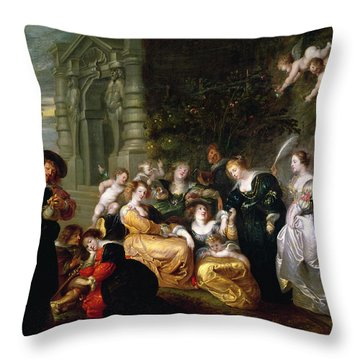 The Garden Of Love Throw Pillow by Peter Paul Rubens