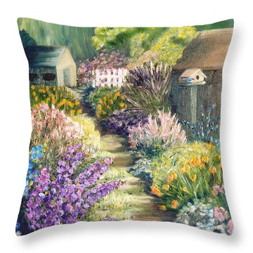 The Garden Path Throw Pillow by Renate Nadi Wesley