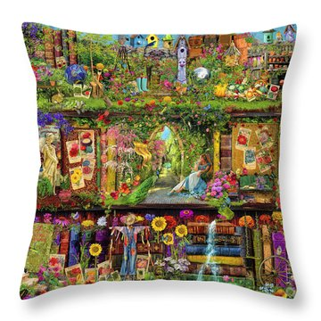The Garden Shelf Throw Pillow