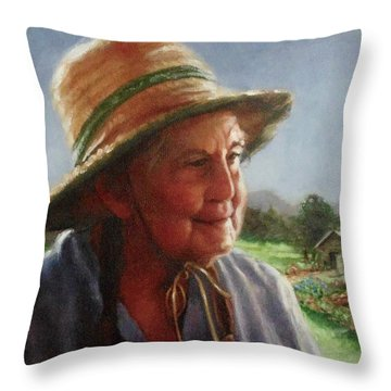 The Gardener Throw Pillow by Janet McGrath