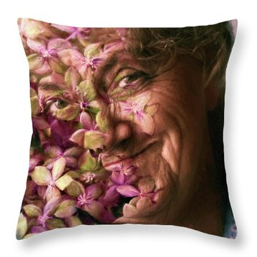 The Gardener Throw Pillow by Jean OKeeffe Macro Abundance Art