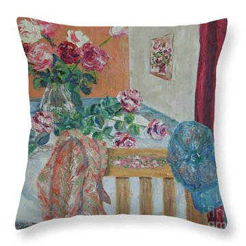 The Gardener's Table Throw Pillow by Judith Espinoza