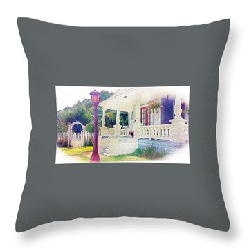 The Gate Porch And The Lamp Post Throw Pillow