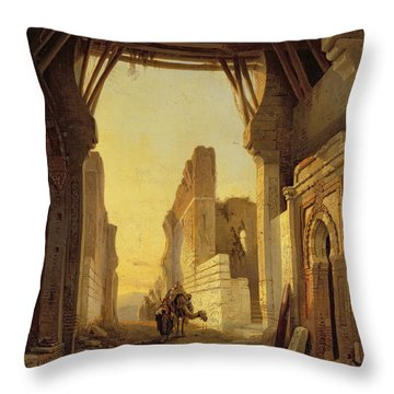 The Gates Of El Geber In Morocco Throw Pillow by Francois Antoine Bossuet