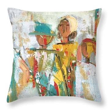 The Gatherers  Throw Pillow by Elaine Lanoue