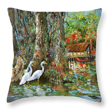 The Gathering - Louisiana Swamp Life Throw Pillow by Dianne Parks