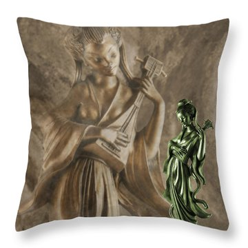 The Geisha Musician Throw Pillow