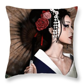 The Geisha Throw Pillow by Pete Tapang