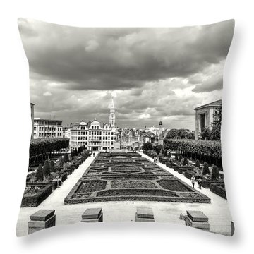 The Geometric Garden In Black And White Throw Pillow