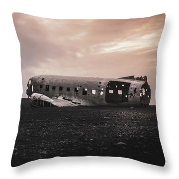 The Ghost - Plane Wreck In Iceland Throw Pillow