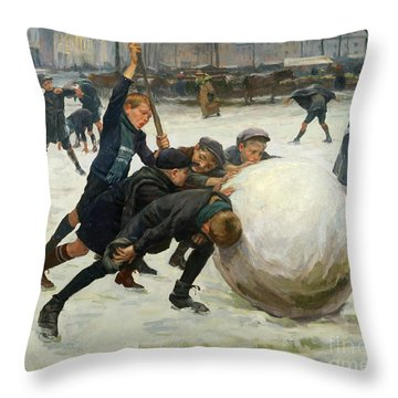 The Giant Snowball Throw Pillow by Jean Mayne