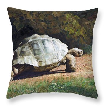 The Giant Tortoise Is Walking Throw Pillow