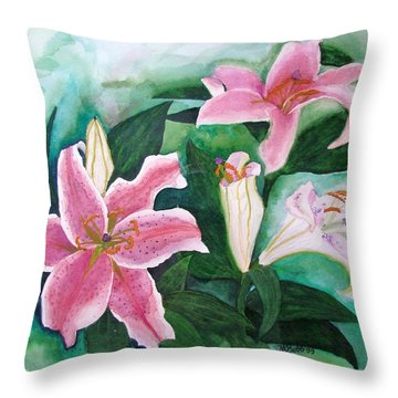 Throw Pillow featuring the painting The Gift by Margaret Bobb