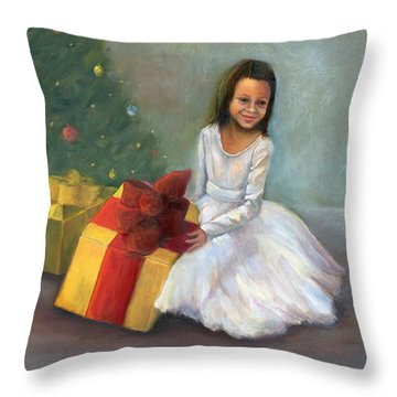 Throw Pillow featuring the painting The Gift by Marlene Book
