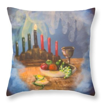 Throw Pillow featuring the painting The Gift by Saundra Johnson