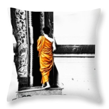 The Gilded Monk Throw Pillow by Cameron Wood