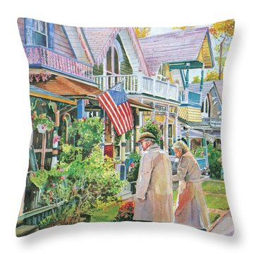 The Gingerbread Cottages Throw Pillow