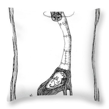 The Giraffe And The Rat Throw Pillow by Zelde Grimm