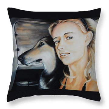 The Girl And Her Dog  Throw Pillow by Jean Cormier