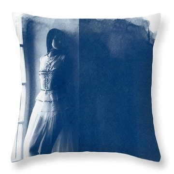 The Girl At The Window. Throw Pillow by Andrey  Godyaykin