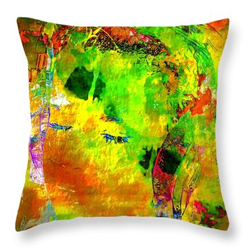 The Girl In Headphones Throw Pillow