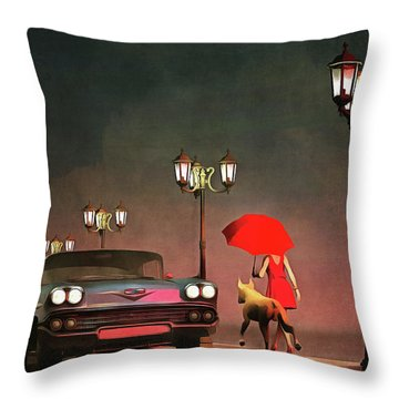 The Girl In Red Throw Pillow