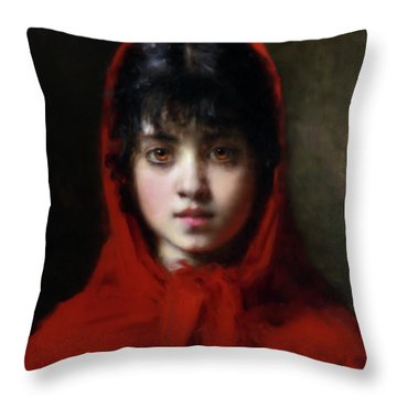 The Girl In The Red Shawl Throw Pillow