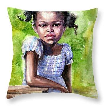 The Girl On The Veranda Throw Pillow