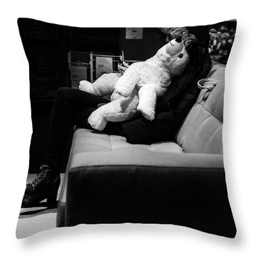 Throw Pillow featuring the photograph The Girl The Polar Bear And The Phone by John Williams