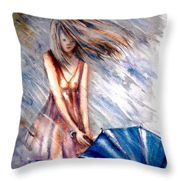 The Girl With A Blue Umbrella Throw Pillow