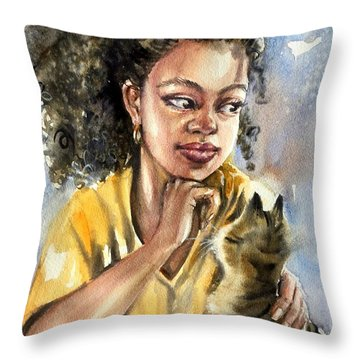 The Girl With A Cat Throw Pillow