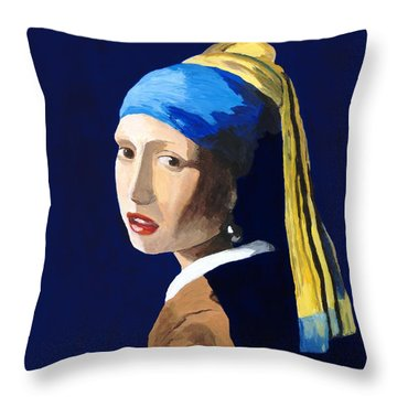 Throw Pillow featuring the painting The Girl With A Pearl Earring After Vermeer by Rodney Campbell