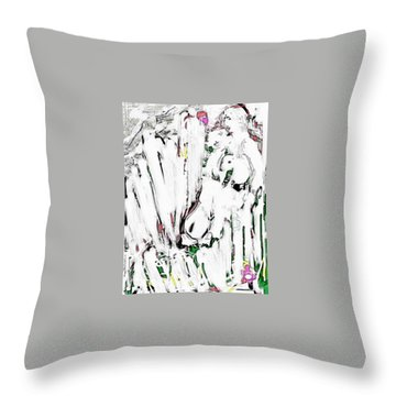 The Girl With Lambs Throw Pillow