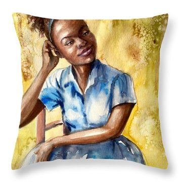 The Girl With The Blue Dress Throw Pillow