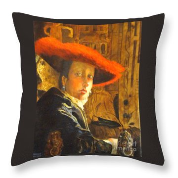 The Girl With The Red Hat After Jan Vermeer Throw Pillow