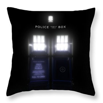 The Glass Police Box Throw Pillow