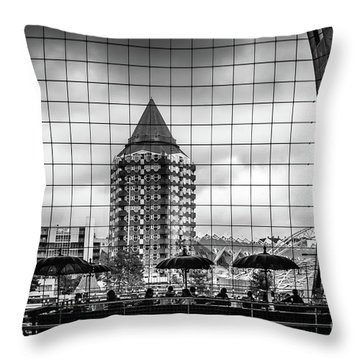 Throw Pillow featuring the photograph The Glass Windows Of The Market Hall In Rotterdam by RicardMN Photography