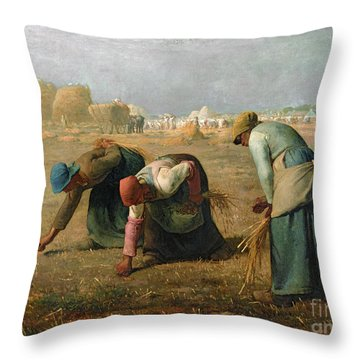 The Gleaners Throw Pillow by Jean Francois Millet