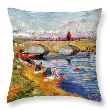 The Gleize Bridge Over The Vigneyret Canal  Throw Pillow by Vincent van Gogh