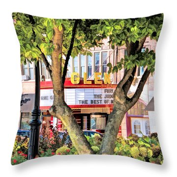 Throw Pillow featuring the painting The Glen Movie Theater by Christopher Arndt