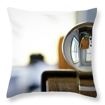 The Globe With Dog Throw Pillow