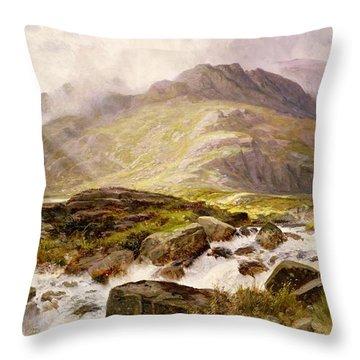 The Glyder Fawr  Throw Pillow by Edwin Pettitt