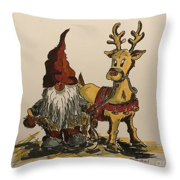 The Gnome And His Reindeer Throw Pillow