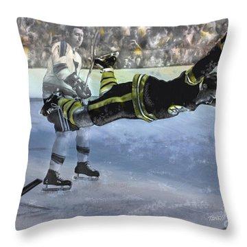 The Goal Bobby Orr Art Throw Pillow