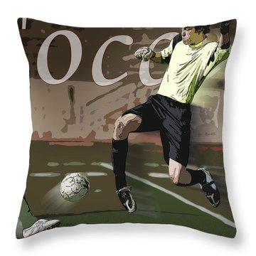 The Goalkeeper Throw Pillow by Kelley King